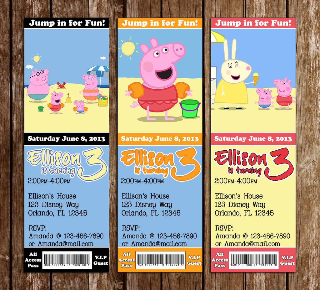Novel concept designs nick jr peppa pig birthday pool party ticket nick jr peppa pig birthday pool party ticket invitations filmwisefo