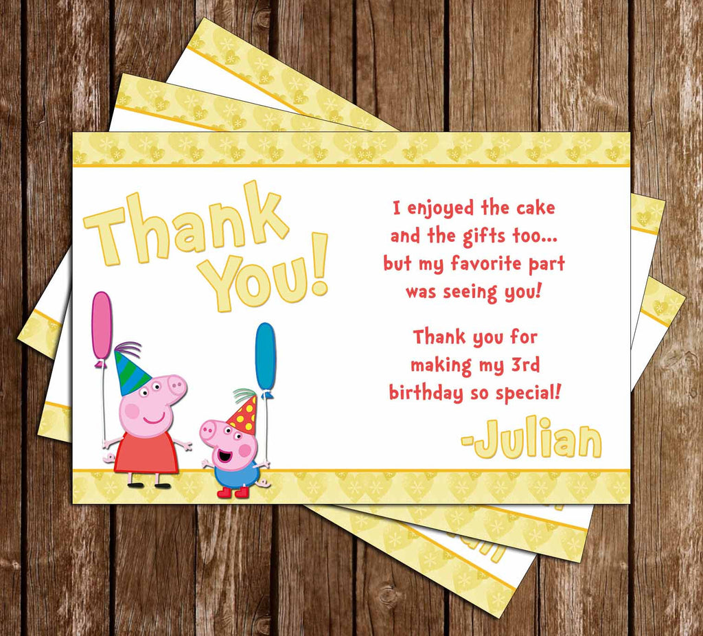 Nick Jr Peppa Pig Pool Party Birthday Thank You Card