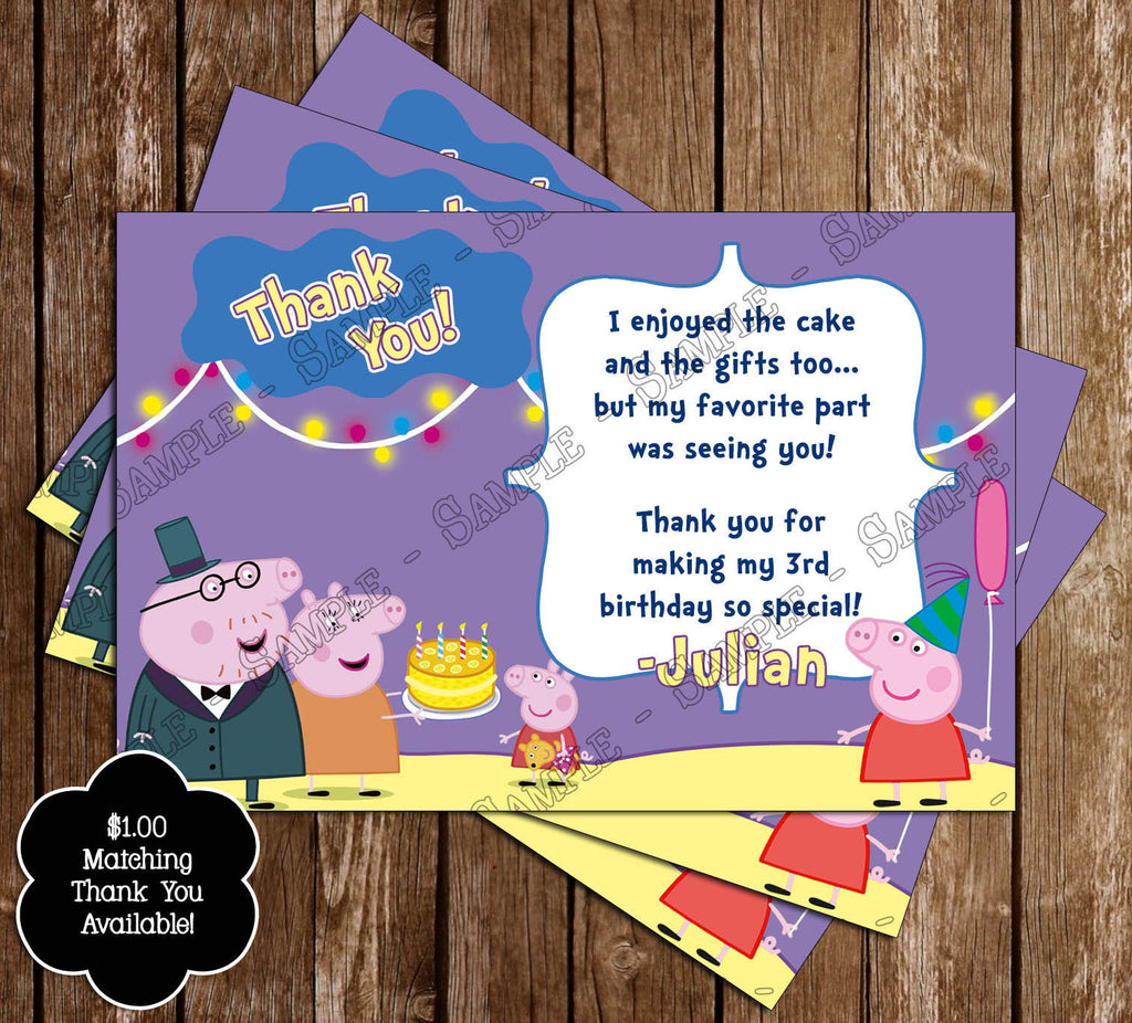 Peppa Pig Pool Party Birthday Invitation