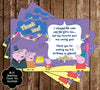 Peppa Pig Pool Party Birthday Thank You Card