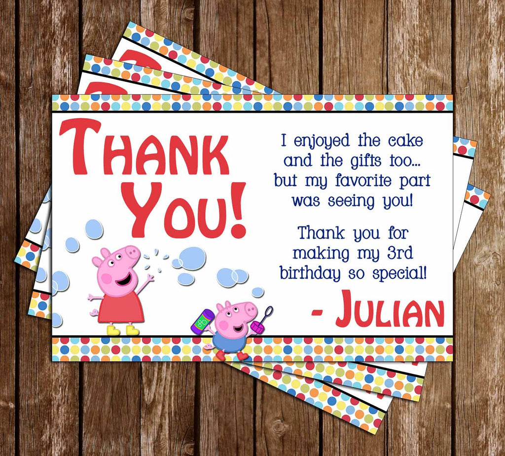 Peppa Pig Show Birthday Party Thank You Card