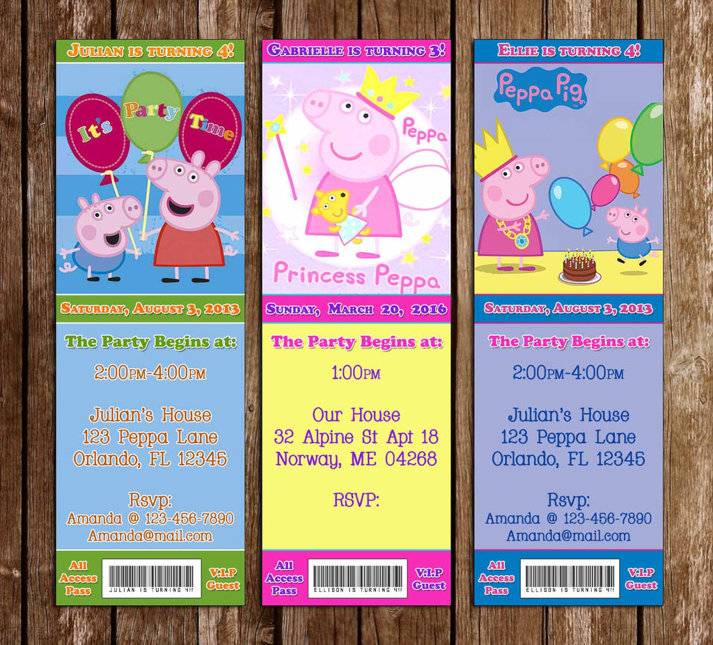 Novel Concept Designs Peppa Pig Show Birthday Party Ticket Invitations