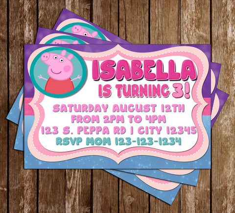 Peppa Pig - Sparkles - Birthday Party Invitation