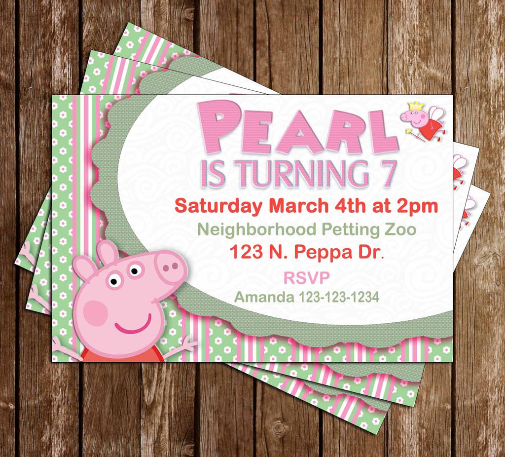 Peppa Pig - Pink & Green - Birthday Party Invitation