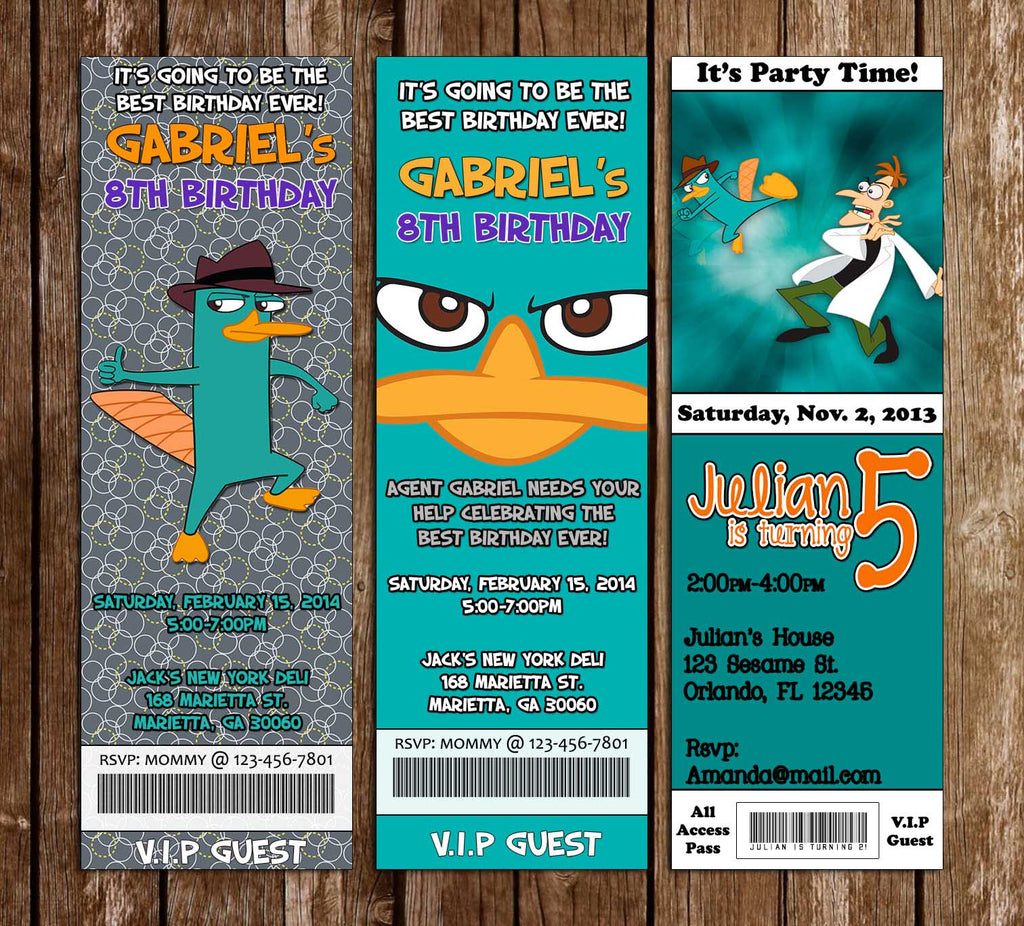 Perry The Platypus Ticket Birthday Invitation