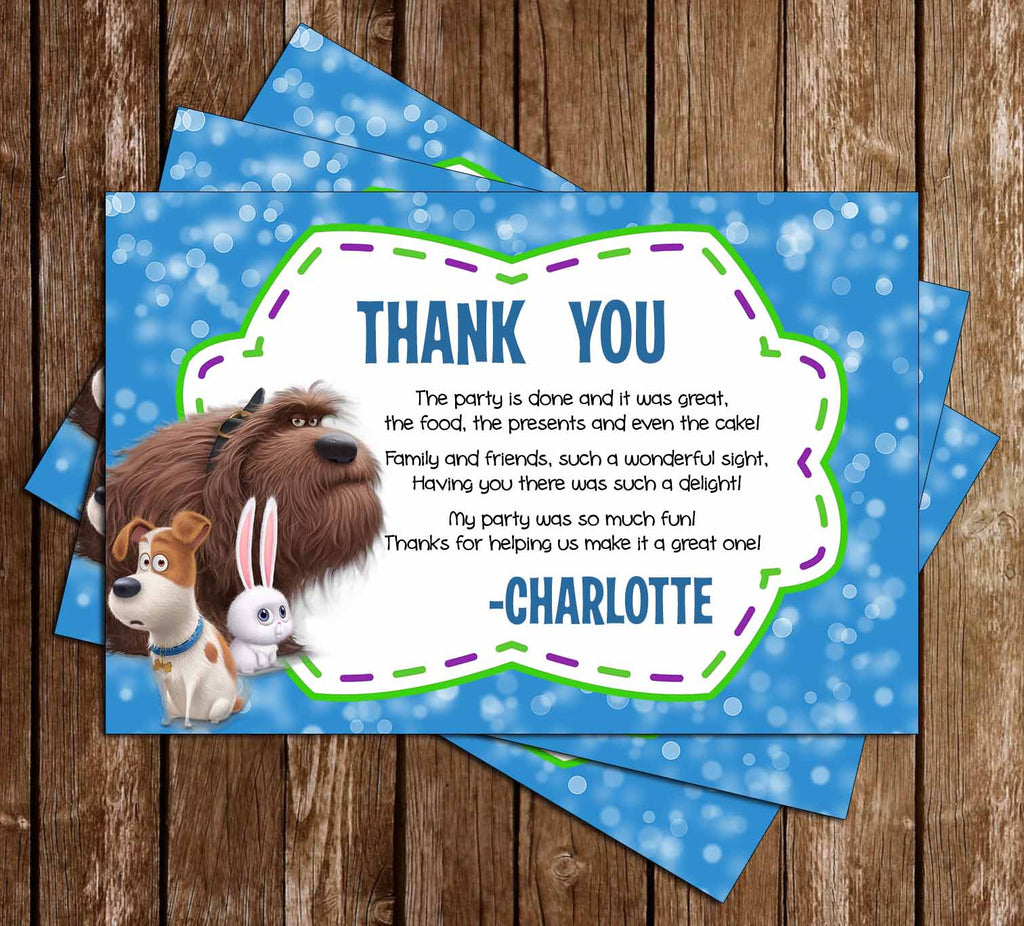 The Secret Life of Pets Movie Birthday Party Thank You Card