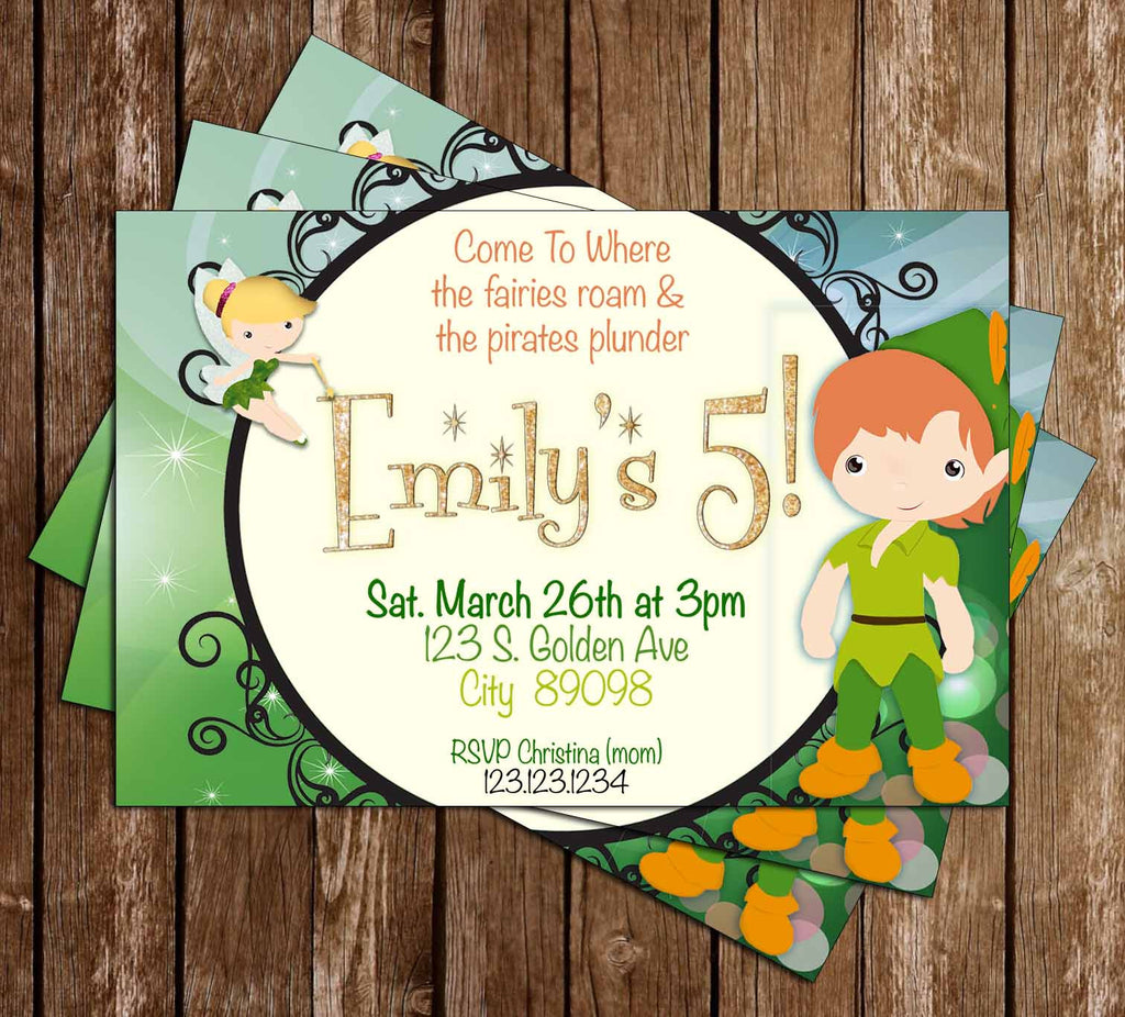 Peter Pan - Tinkerbell - Birthday Party - Invitation