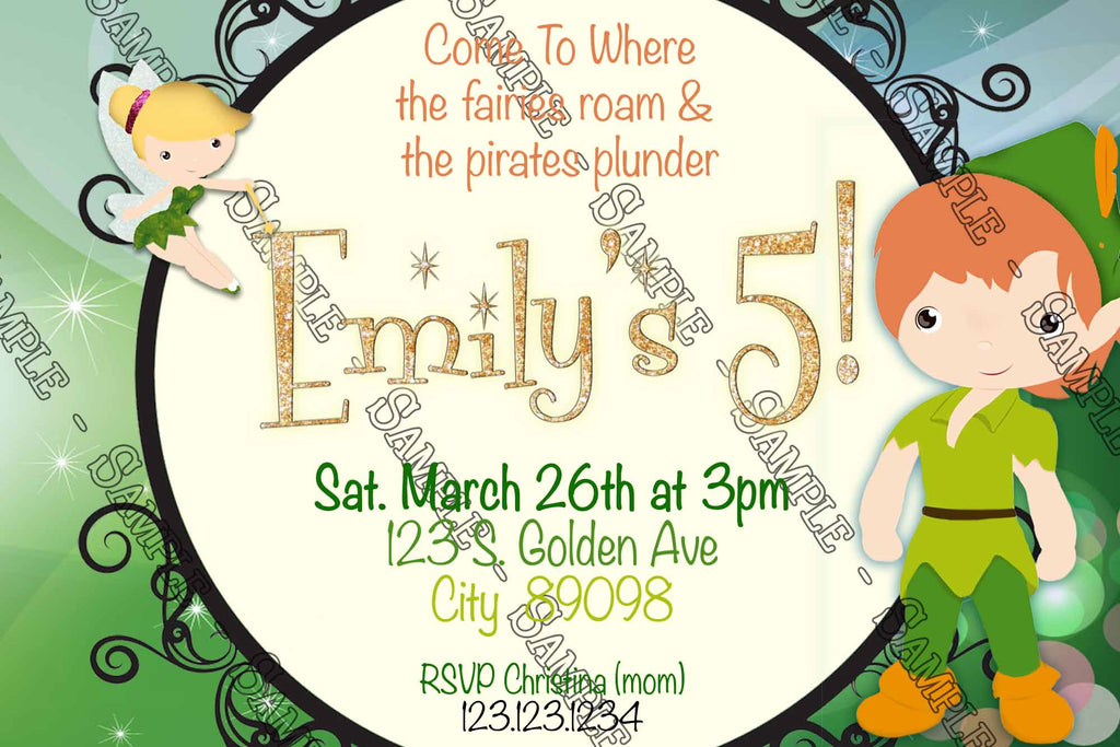 Peter pan birthday invitations choice image coloring for Peter pan invitation template