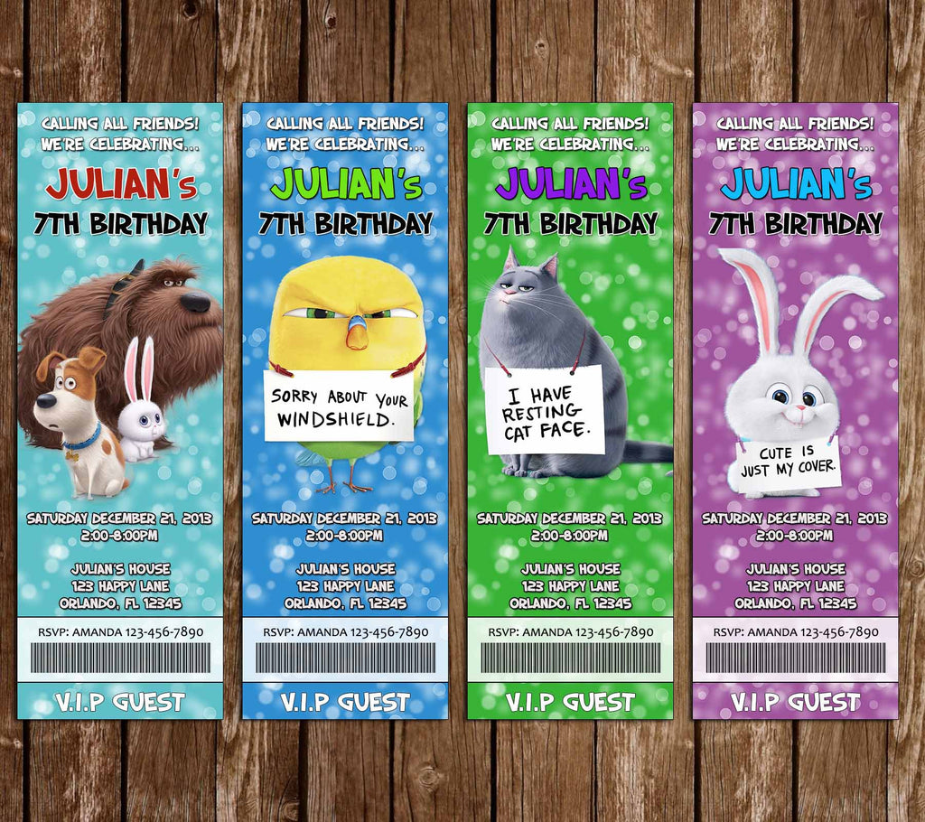 The Secret Life of Pets Movie Ticket Animals Birthday Party Invitation