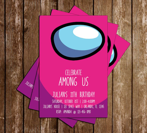 Among Us - Pink Crewmate - Birthday - Invitation