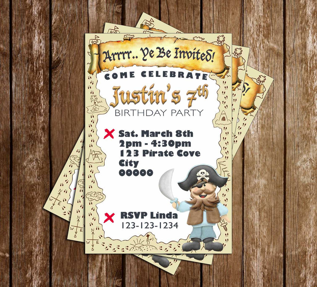 Pirates - Yo Ho! - Pirate Party - Birthday Party Invitation