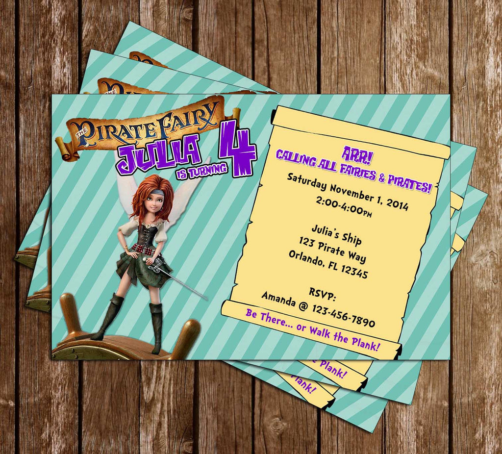 Novel Concept Designs - The Pirate Fairy Birthday Party Invitation