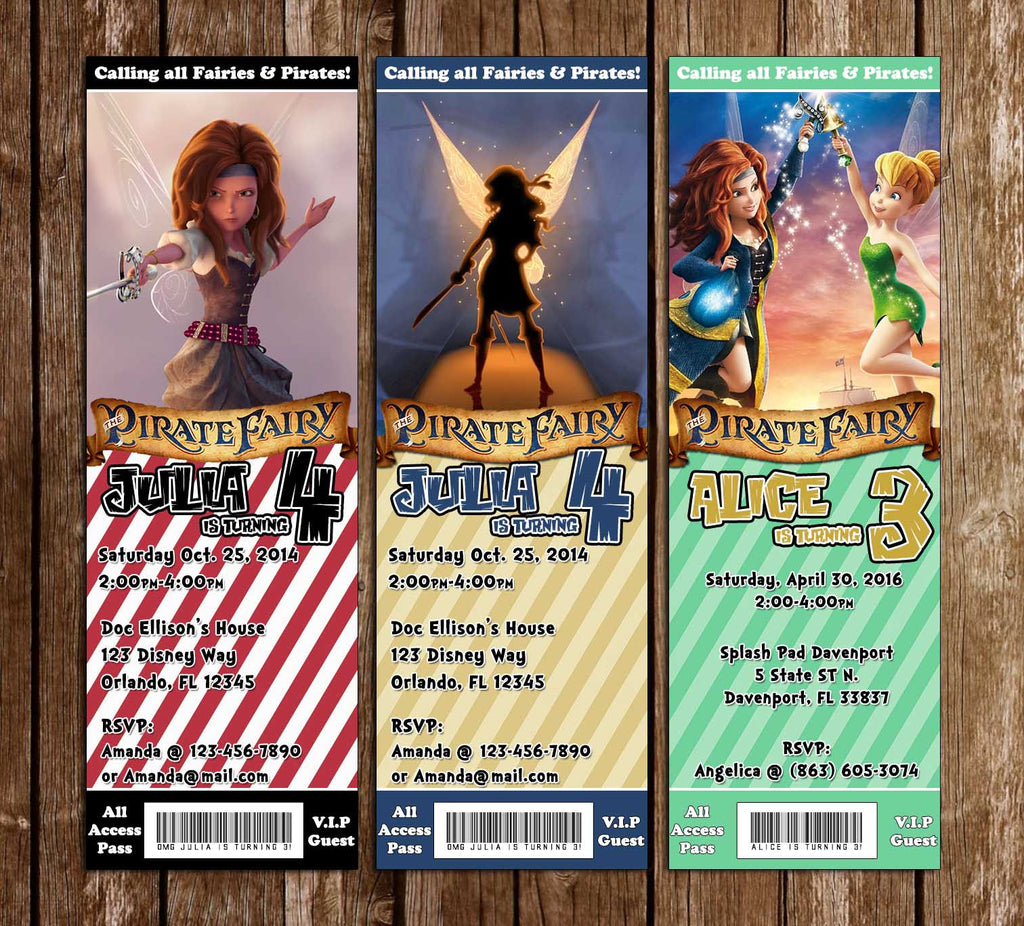The Pirate Fairy Birthday Ticket Invitation