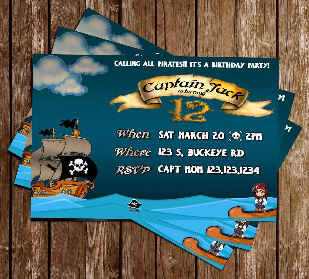 Little Pirate - Pirates of The Caribbean - Pirate Ship -  Birthday Invitation
