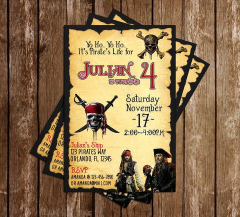 Pirates of the Caribbean - Tall - Birthday - Invitation