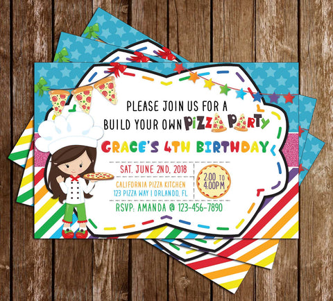 Pizza Party - Build Your Own Pizza - Birthday Party - Invitation