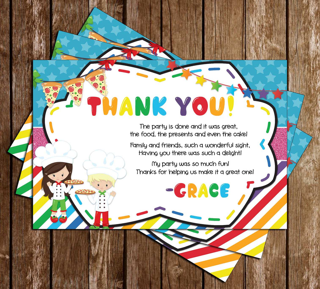 Pizza Party - Birthday Party - Thank You Card