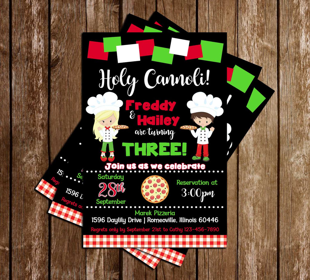 Holy Cannoli - Pizza Party - Birthday Party - Invitation