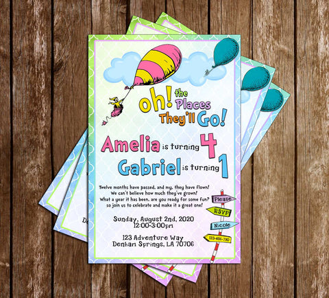 Dr. Seuss - Oh The Places They'll Go - Two Kids - Birthday Invitation