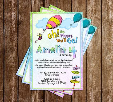 Oh The Places You'll Go - Arrows - Birthday - Invitation