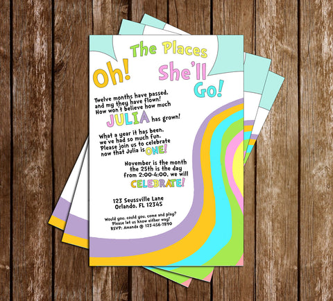 Doctor Seuss - Oh The Places You'll Go - Rainbow - Birthday - Invitation