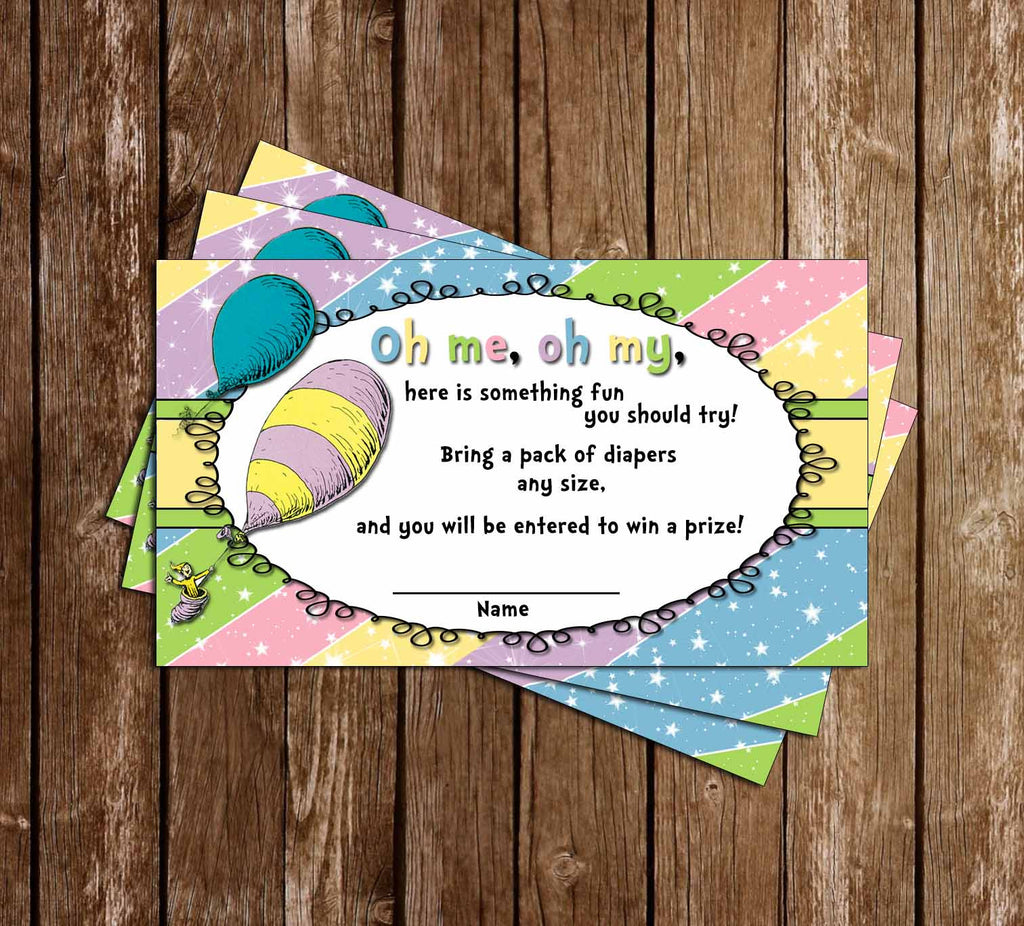 Oh The Places You'll Go - Baby Shower - Diaper Raffle Tickets