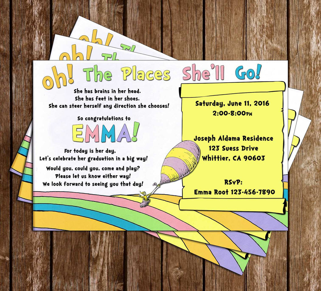 Doctor Seuss Oh The Places You'll Go Graduation Invitation