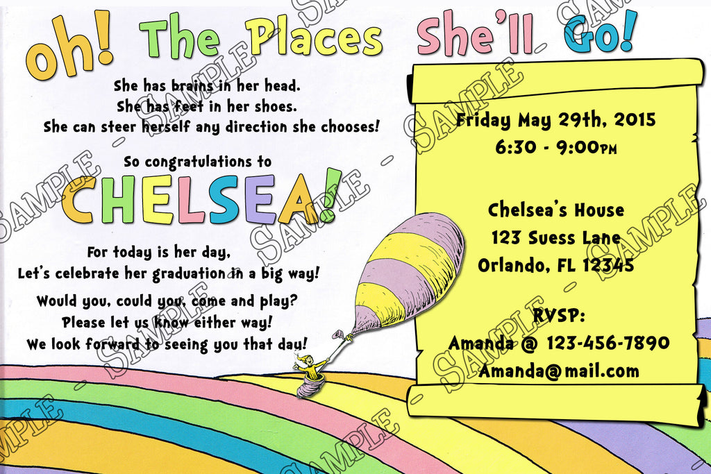 Doctor Seuss Oh The Places Youll Go Graduation Invitation