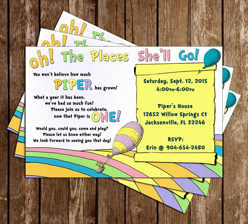 Doctor Seuss Oh The Places You'll Go Show Birthday Invitation