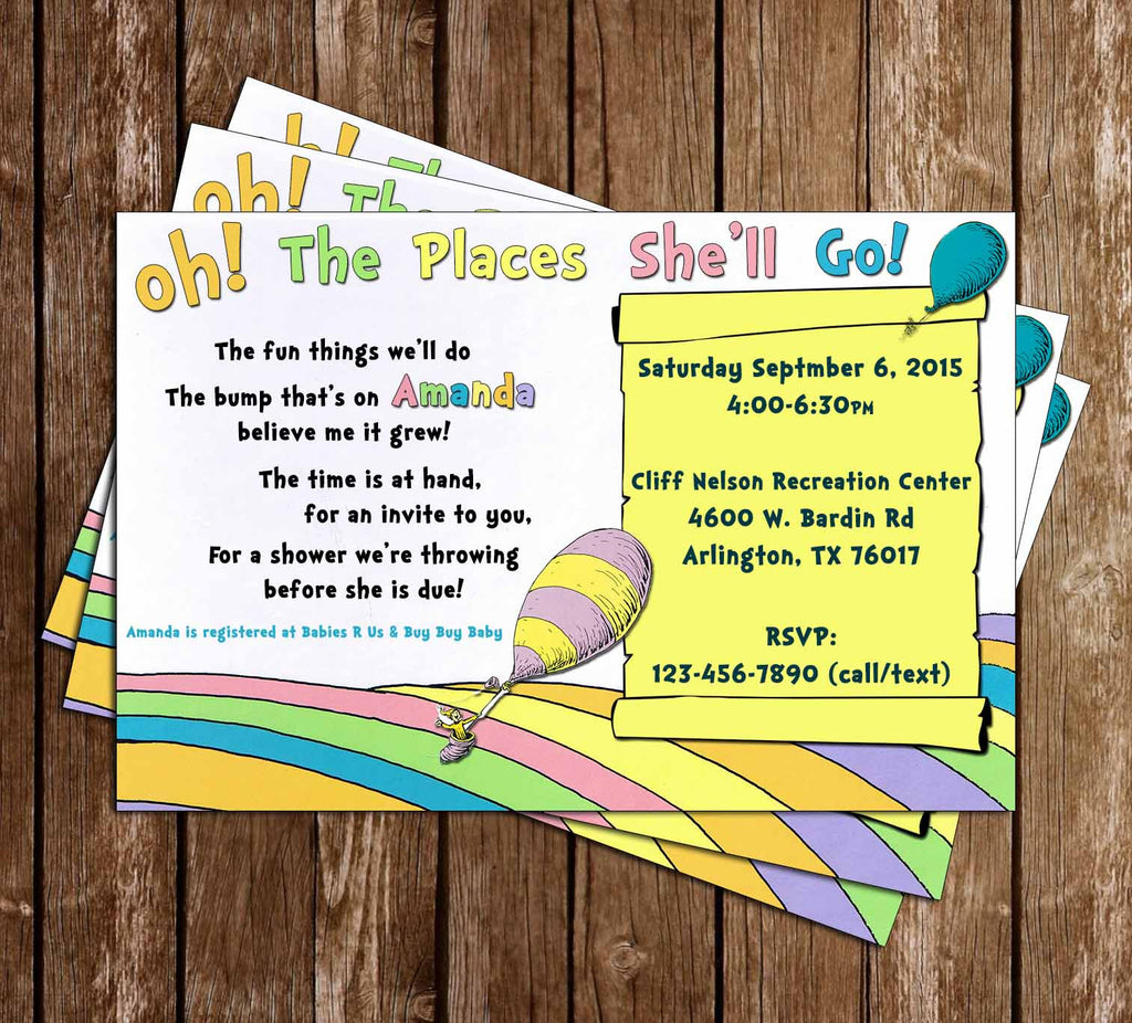 Dr Seuss Oh, The Places You'll Go Baby Shower Invitation