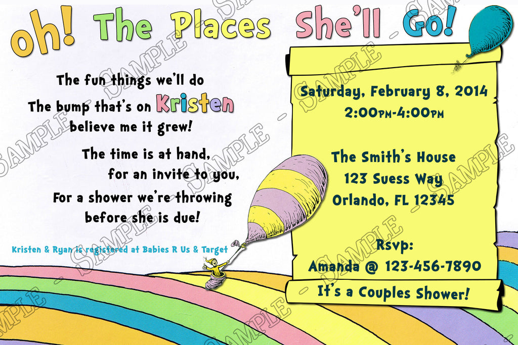 novel concept designs - oh, the places you'll go baby shower, Baby shower invitations