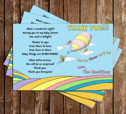 Doctor Seuss Oh The Places Youu0027ll Go Book Baby Shower Thank You