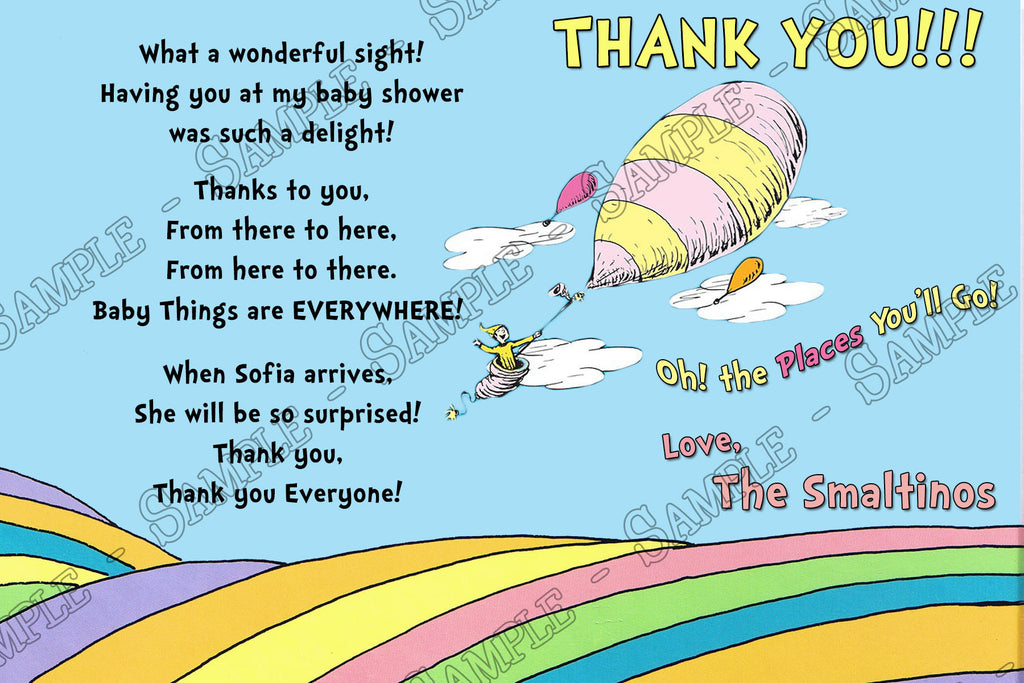 Doctor Seuss Oh The Places Youu0027ll Go Baby Shower Thank You