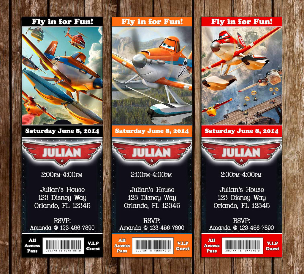 Disney's Planes Group Birthday Party Ticket Invitation