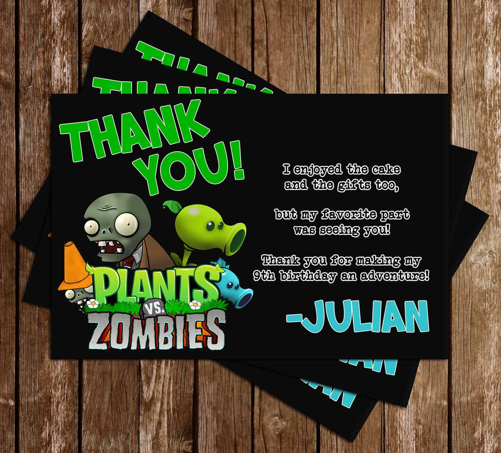 Plants Vs Zmobies Birthday Thank You Card