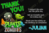 Plants Vs Zmobies Game Birthday Thank You Card