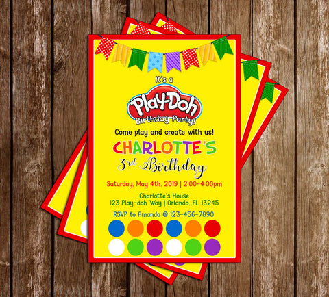 Playdoh - Yellow - Birthday Party - Invitation