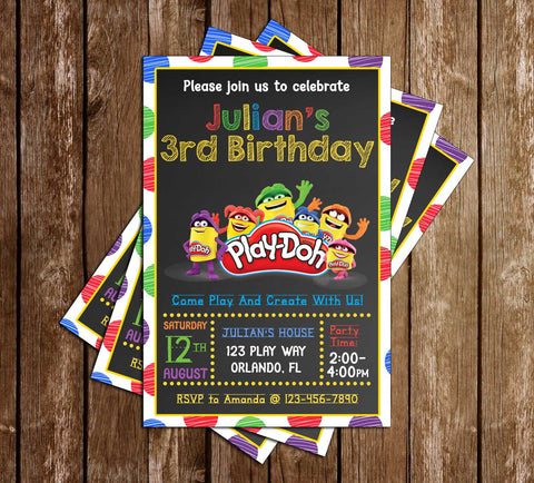 Playdoh - Chalk - Birthday Party - Invitation