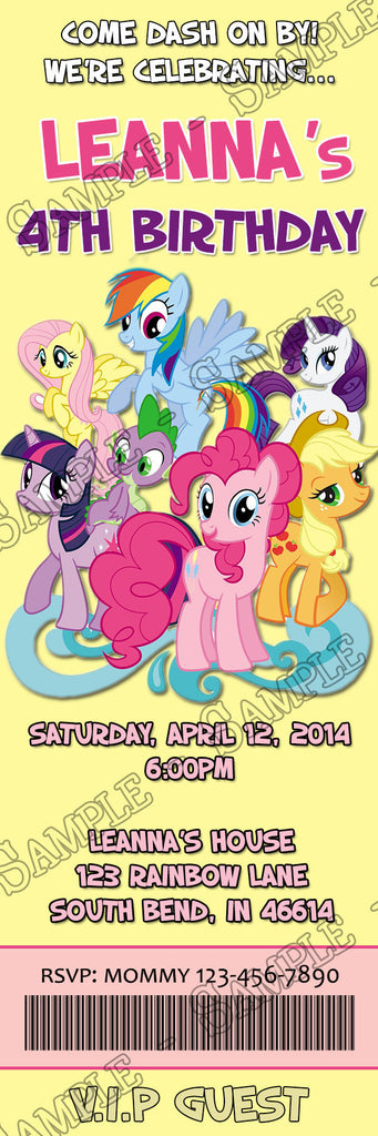 novel concept designs - friendship my little pony birthday party, Party invitations