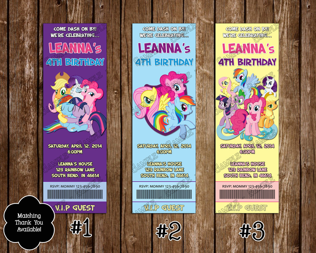Novel Concept Designs My Little Pony Group Birthday Party Ticket – My Little Pony Personalized Birthday Invitations