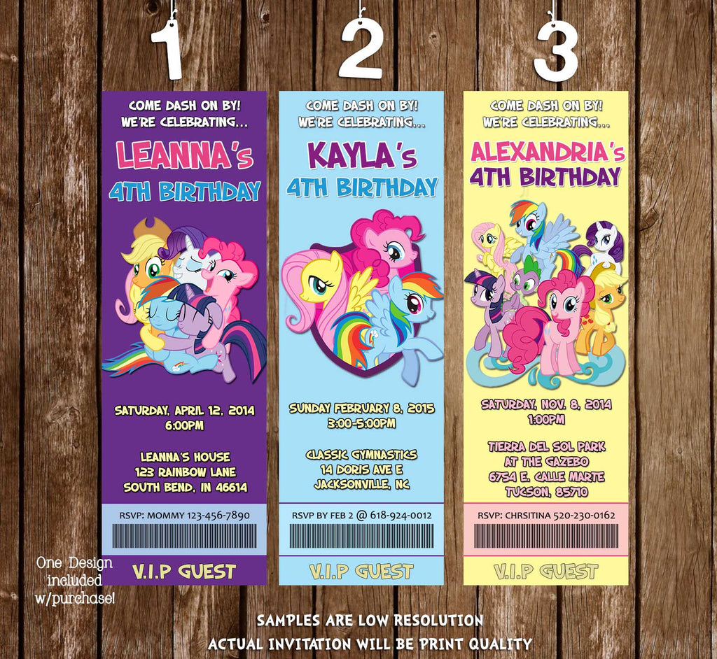 Novel Concept Designs My Little Pony Group Birthday Party Ticket