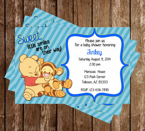 Novel concept designs customized invitations baby winnie the pooh baby boy shower invitation filmwisefo