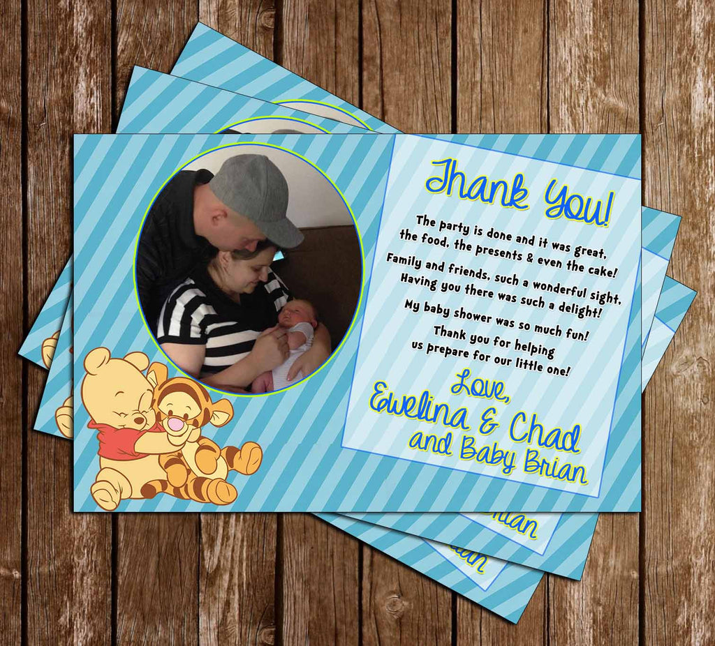 Winnie the Pooh - Baby Boy - Baby Shower Thank You Card