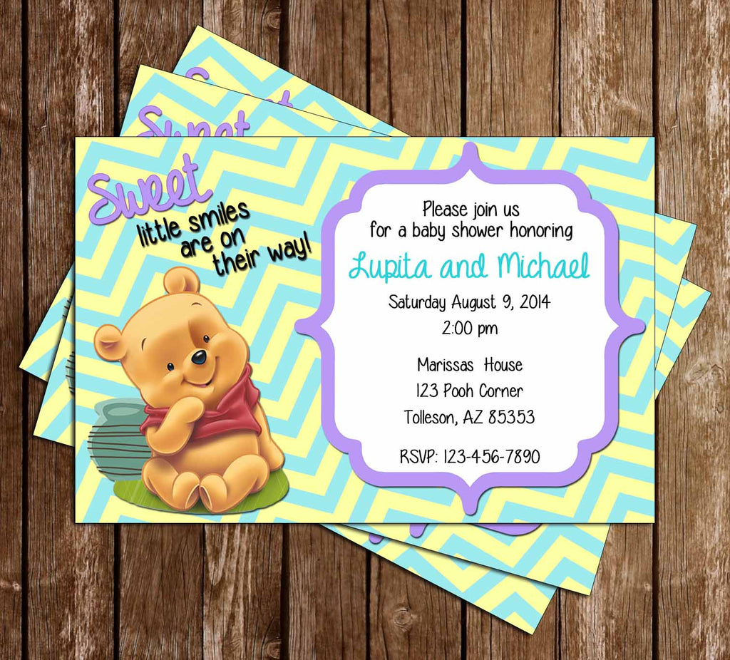 Novel Concept Designs - Winnie the Pooh Baby Shower Invitation
