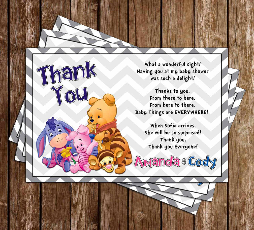 Winnie the Pooh - Gender Neutral - Baby Shower Thank You Card