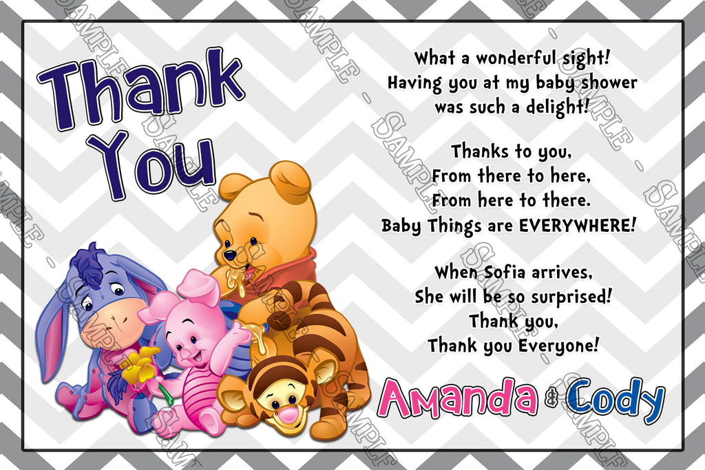 winnie the pooh gender neutral baby shower thank you card