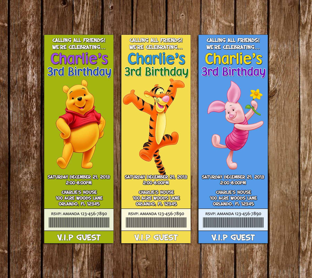 Winnie the Pooh Ticket Birthday Invitation