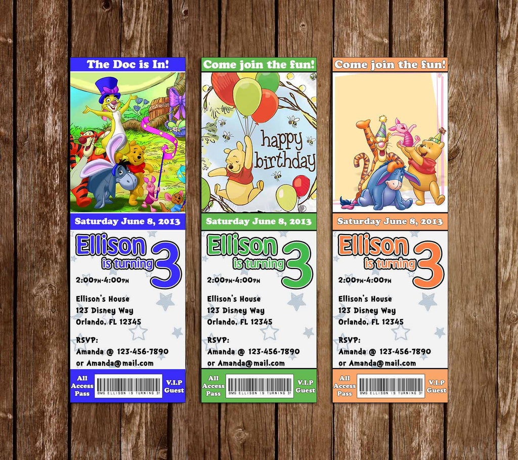 Winnie the Pooh and Friends Ticket Birthday Invitation