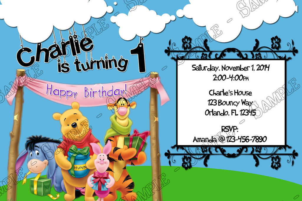 Novel Concept Designs - Winnie the Pooh and Friends Birthday Invitation