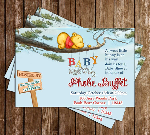 Winnie the Pooh - Tree - Baby Shower - Invitation